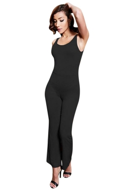 Womens Backless Bell Bottom Sleeveless Plain Jumpsuit Dark Gray