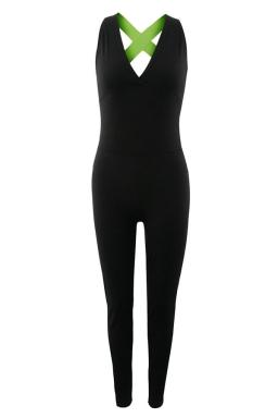 Womens V Neck Cross Backless High Waist Yoga Sports Jumpsuit Green