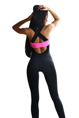 Womens Color Block Cross Bandage Back Sports Jumpsuit Rose Red
