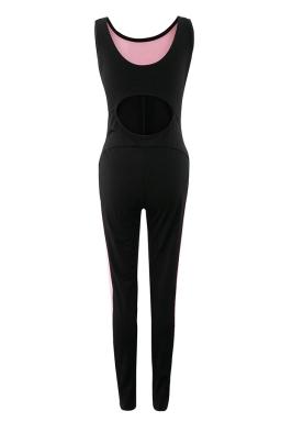 Womens Mesh Patchwork Cutout Back Sleeveless Jumpsuit Pink