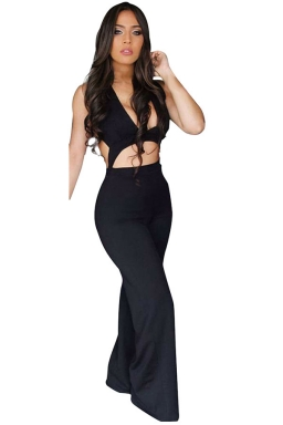 Womens Plunging Neck Cutout Backless Palazzo Jumpsuit Black