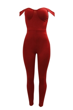 Womens Off Shoulder Zipper Back Plain Bodycon Jumpsuit Red