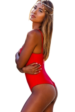 Womens Strappy Cutout Plain One Piece Swimsuit Red