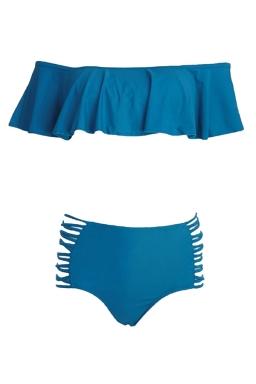 Womens Ruffled Bikini Top&High Waist Cutout Swimsuit Bottom Blue