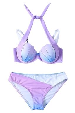 Womens Halter Gradient Shell 2PCS Bikini Suit White