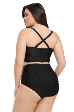 Womens Plus Size Plain High Waist Ruched Bikini Set Black