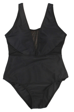 Womens Mesh Patchwork Plus Size Plain One Piece Swimsuit Black