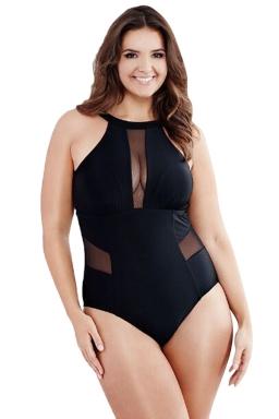Womens Plus Size Mesh Patchwork Cutout Back One Piece Swimsuit Black