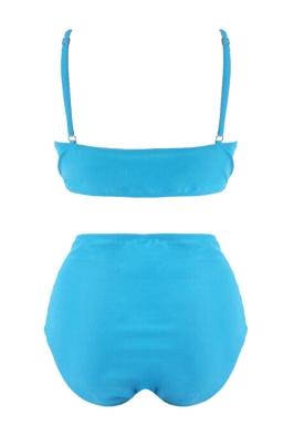 Womens Plus Size Strappy 2PCS High Waist Cutout Bikini Set Blue