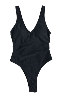 Womens V Neck Strappy Cutout Sides Plain One Piece Swimsuit Black