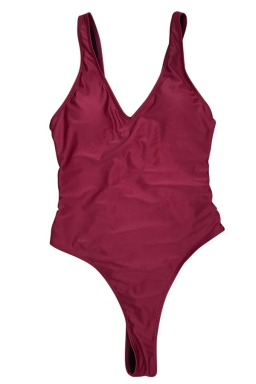 Womens V Neck Strappy Cutout Sides Plain One Piece Swimsuit Ruby