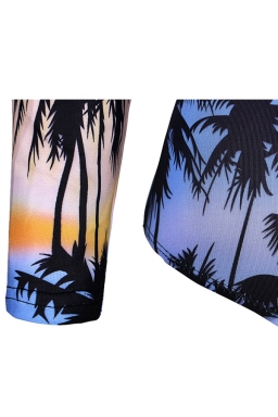 Womens Cut Out Coconut Tree Print Open Back Long Sleeve Monokini Blue