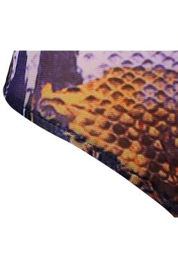 Womens Snake Printed Cut Out Back Long Sleeve Monokini Brown