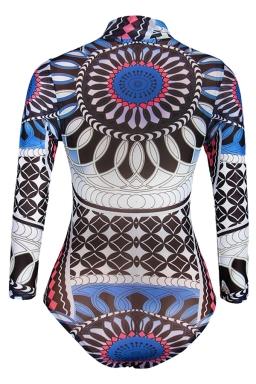 Womens Exotic Printed Mock Neck Long Sleeve Monokini Blue