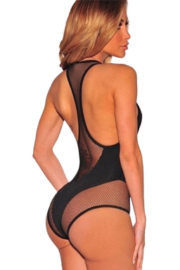 Womens Sexy Mesh Patchwork One Piece Swimsuit Black