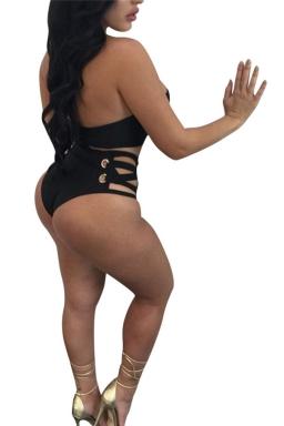 Womens Sexy Bandeau Swimwear Top&High Waist Swimsuit Bottom Black