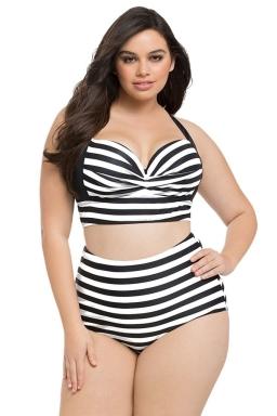 Womens Plus Size Striped Print Curvy High Waist Bikini Swimsuit Black