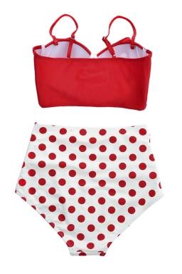 Womens Sexy Ruffle Swimwear Top&High Waist Swimsuit Bottom Red