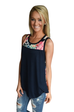 Womens Crewneck Floral Printed Patchwork Tank Top Navy Blue