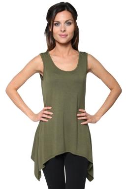 Womens Round Neck Asymmetric Hem Plain Tank Top Army Green
