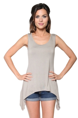Womens Round Neck Asymmetric Hem Plain Tank Top Apricot