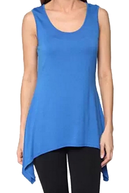 Womens Round Neck Asymmetric Hem Plain Tank Top Blue