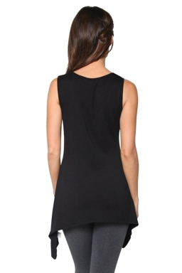Womens Round Neck Asymmetric Hem Plain Tank Top Black