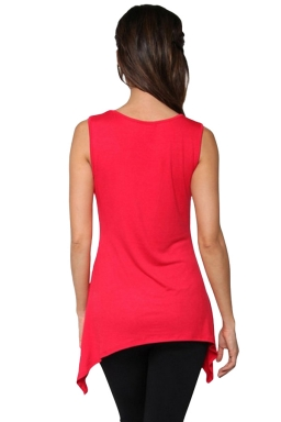 Womens Round Neck Asymmetric Hem Plain Tank Top Watermelon Red