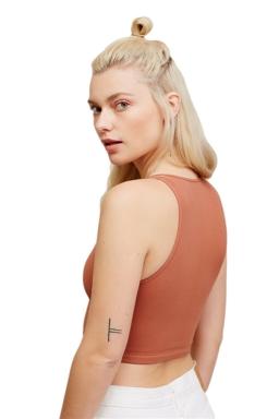 Womens Plain Cut Out Sleeveless Crop Top Tangerine