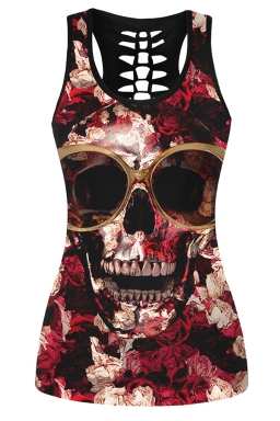Womens Hollow Out Racer Back Rose Skull Printed Tank Top Black