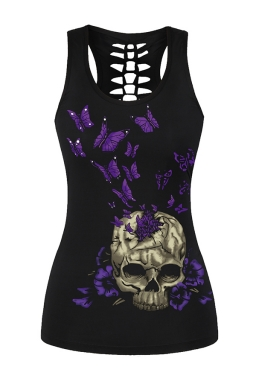 Womens Hollow Out Racer Back Butterfly Skull Printed Tank Top Black