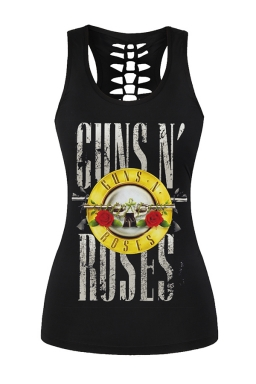 Womens Guns Roses Printed Hollow Out Racer Back Tank Top Black