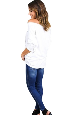 Womens Off Shoulder Hollow Out Plain Loose T Shirt White