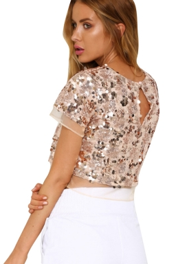 Womens Crewneck Sequined Mesh Patchwork Short Sleeve Crop Top Gold