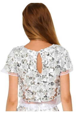 Womens Crewneck Sequined Mesh Patchwork Short Sleeve Crop Top Silvery