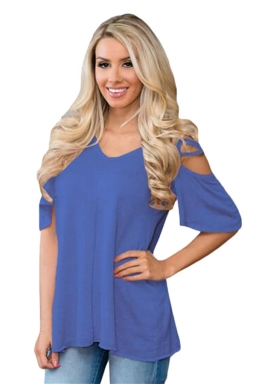 Womens Cold Shoulder Crisscross Detail Relaxing Fit T-shirt Blue