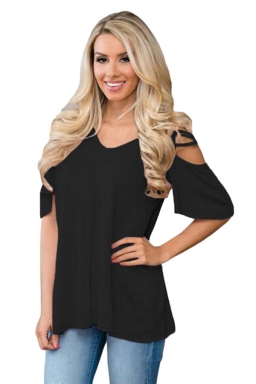 Womens Cold Shoulder Crisscross Detail Relaxing Fit T-shirt Black