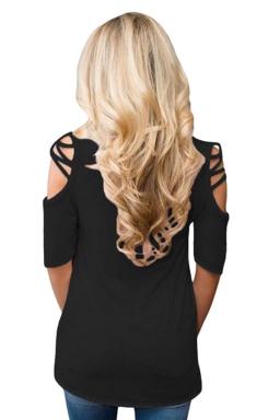 Womens Cold Shoulder Crisscross Detail Relaxing Fit T-shirt Black