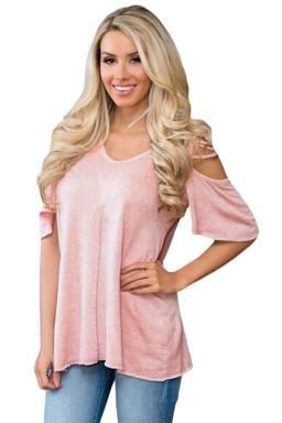 Womens Cold Shoulder Crisscross Detail Relaxing Fit T-shirt Pink