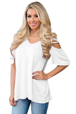 Womens Cold Shoulder Crisscross Detail Relaxing Fit T-shirt White