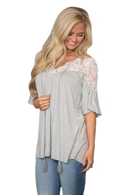 Womens Lace Patchwork Lacing Loose  T-shirt Light Gray