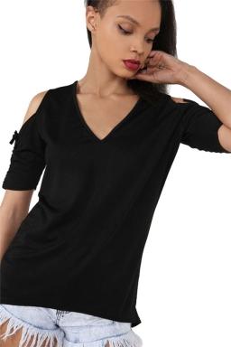 Womens V-neck Cold Shoulder Drawstring Sleeve T-shirt Black