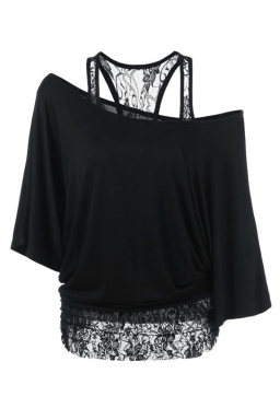 Womens False 2PCS Lace Patchwork Cold Shoulder Batwing Sleeve Top Black
