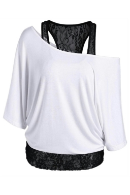 Womens False 2PCS Lace Patchwork Cold Shoulder Batwing Sleeve Top White