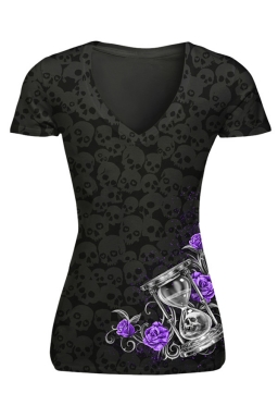 Womens V-neck Skull Head and Rose Printed Short Sleeve T-shirt Black