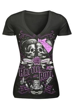 Womens V-neck Skull Battle Roll Printed Short Sleeve T-shirt Black