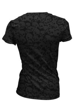 Womens V-neck Skull Head Printed Short Sleeve T-shirt Black