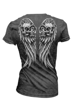 Womens V-neck Skull and Wings Printed Short Sleeve T-shirt Gray