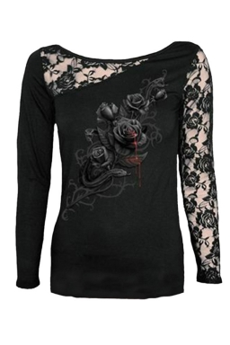 Womens Lace Patchwork Rose Printed Crew Neck Long Sleeve Top Black