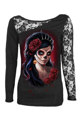 Womens Lace Patchwork Girl Skull Head Printed Long Sleeve Top Black